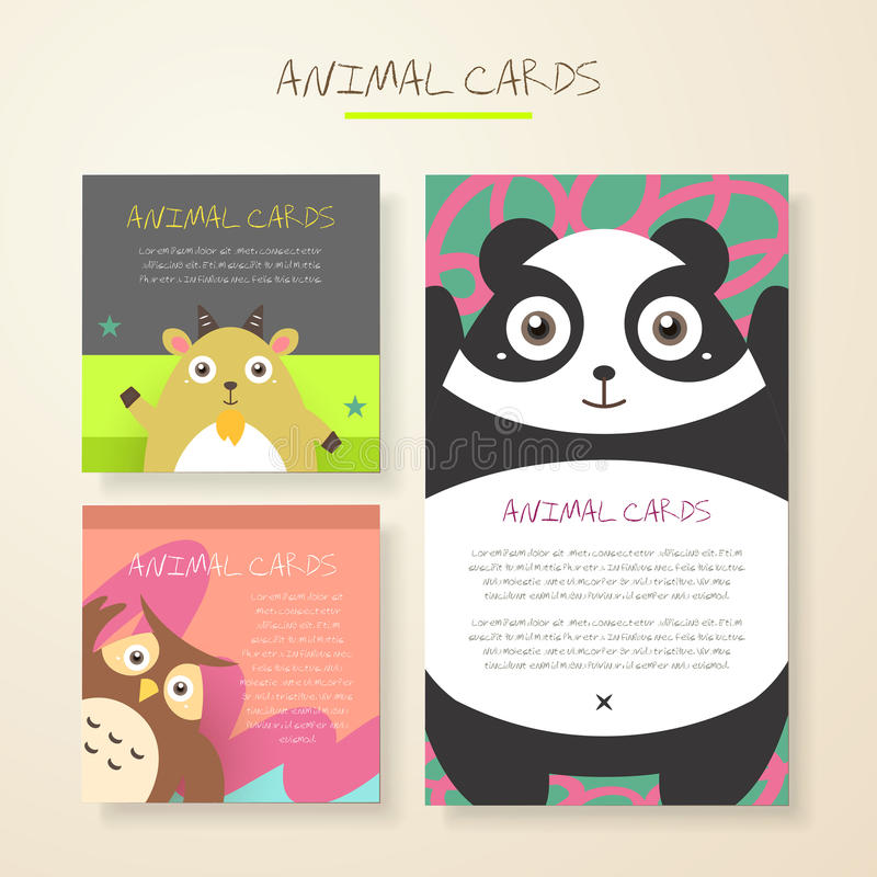 Lovely cartoon animal characters cards stock illustration