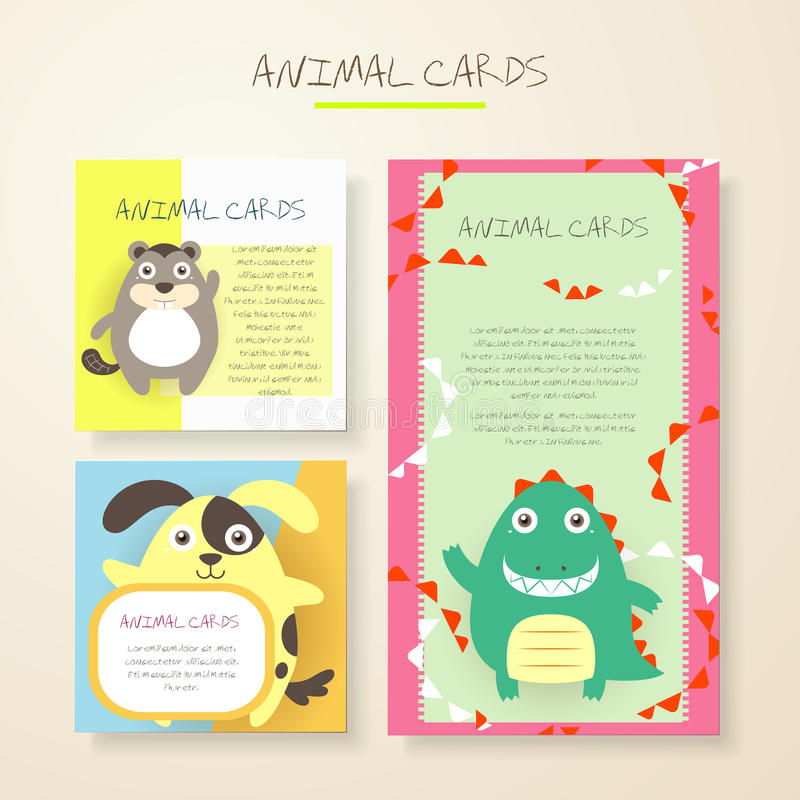 Lovely cartoon animal characters cards royalty free illustration