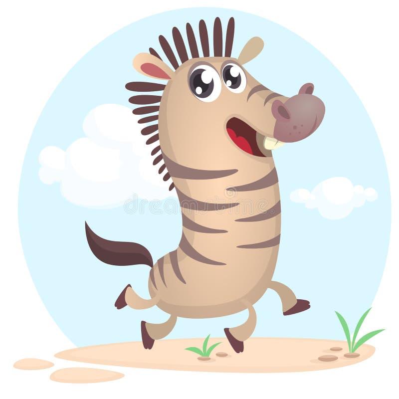 Lovely cartoon illustration of zebra dancing excited. Vector character illustration. For children book royalty free illustration