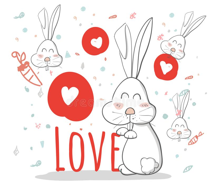 Lovely cartoon rabbit with heart pattern ,love,creative drawn hands made card,happy valentine day,elements,love,flyers, invitation. Brochure, banners,posters royalty free illustration