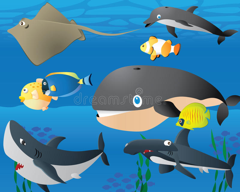 Lovely Cartoon Sea Life Background stock illustration