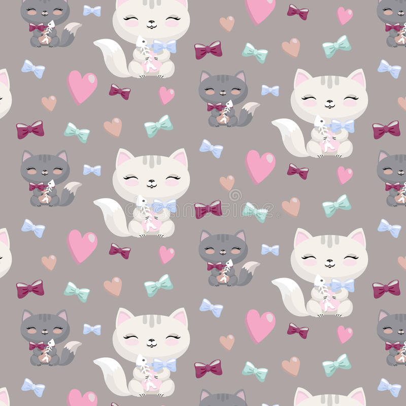 Lovely cartoon seamless pattern with cats , hearts,bones. royalty free illustration