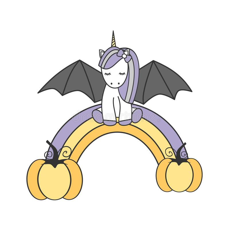 Cute lovely cartoon vector bat unicorn sitting on halloween rainbow royalty free illustration