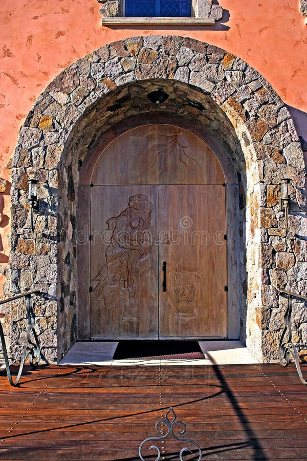 Lovely Carved Wooden Door royalty free stock photos