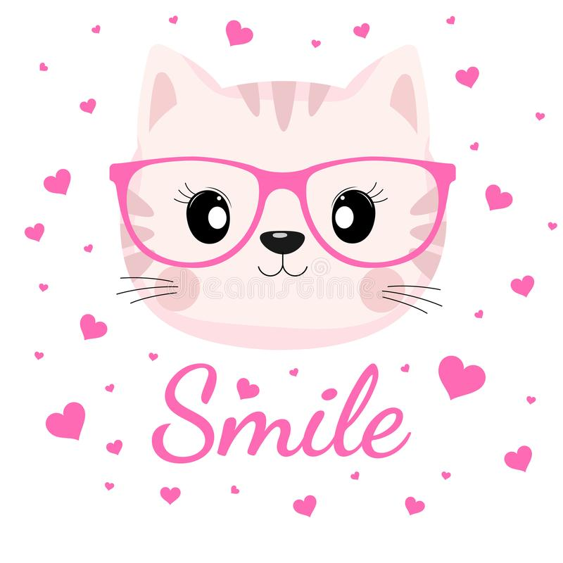 Lovely cat face in glasses with pink hearts on white background. vector illustration