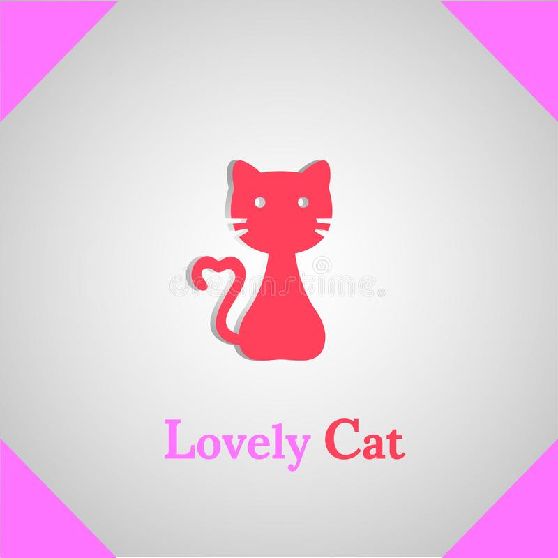 Lovely Cat silhouette icon logo royalty free stock photography