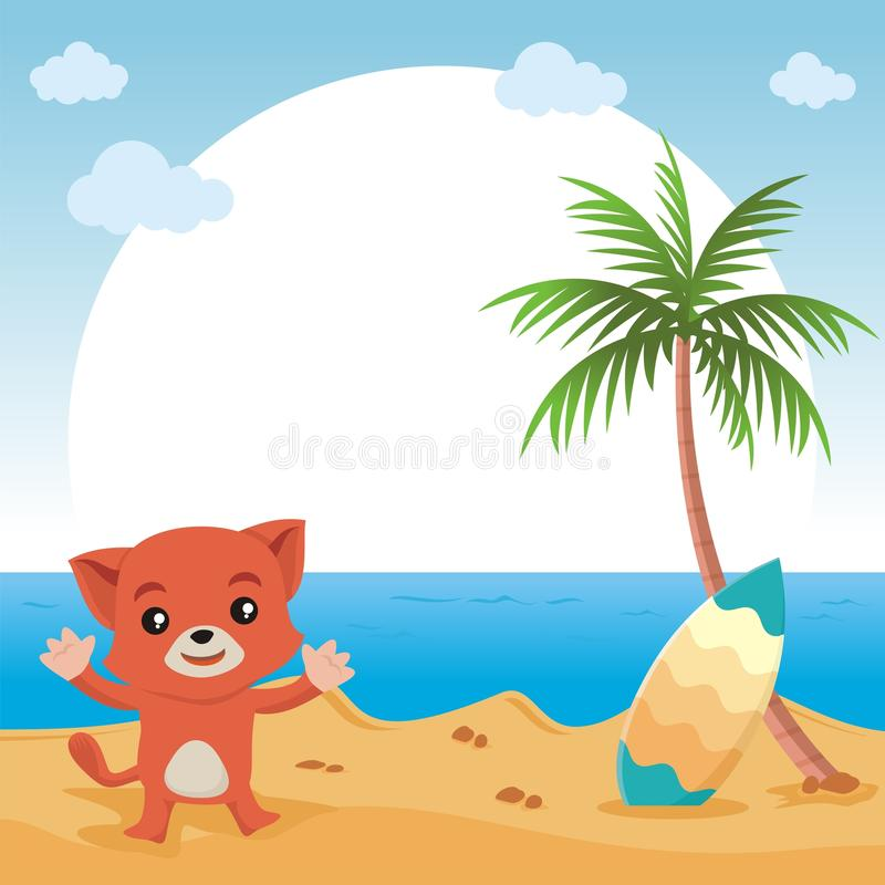 Lovely Cat showing something with beautiful landscape royalty free illustration