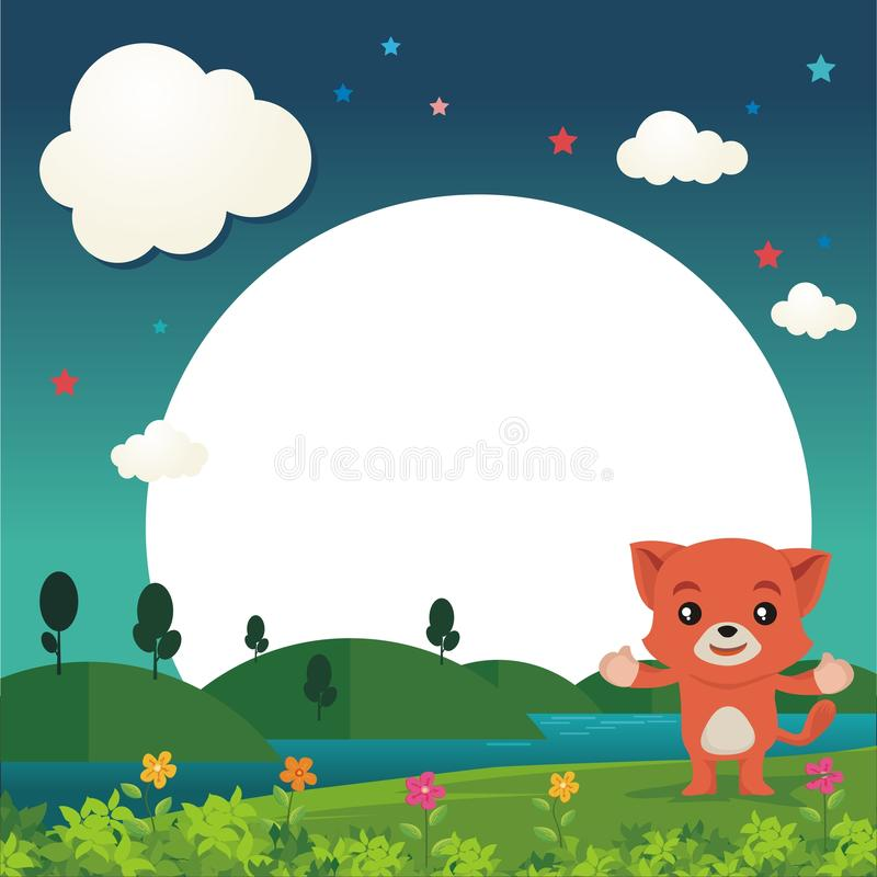 Lovely Cat showing something with beautiful landscape stock illustration
