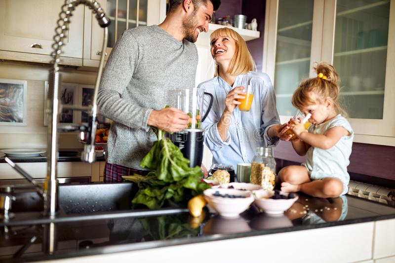 Lovely family together for breakfast stock image