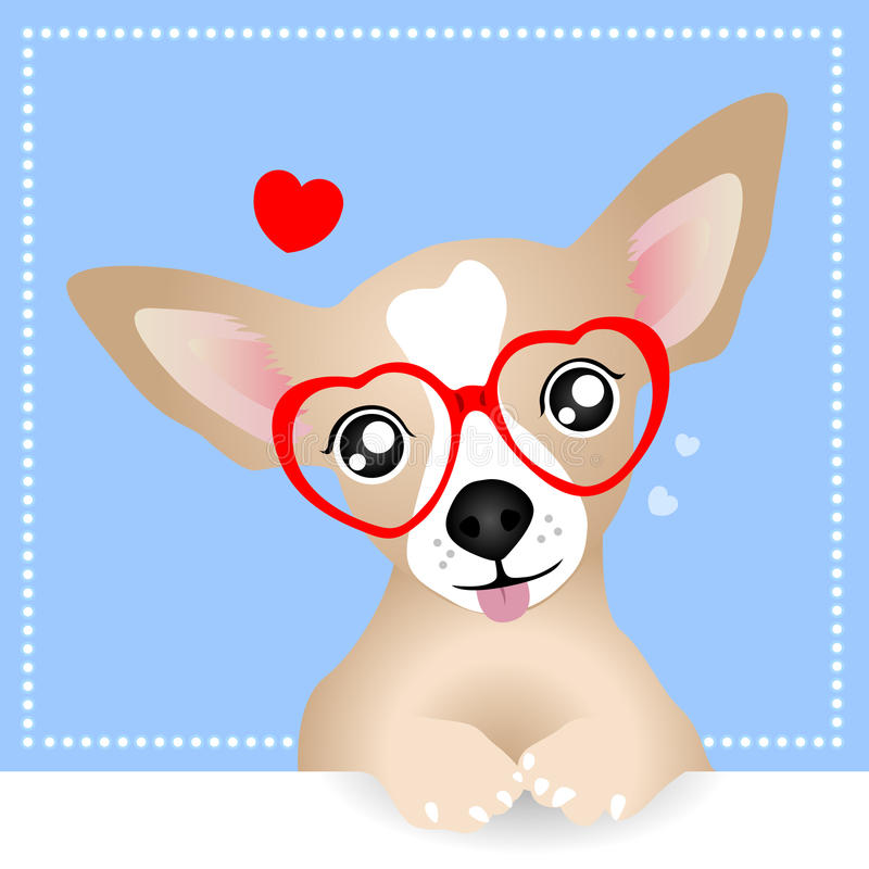 Lovely Chihuahua Dog. With Heart Glasses stock illustration