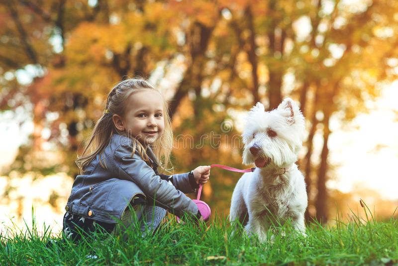 Lovely child with dog walking in fallen leaves. Happy little girl enjoying colourful autumn park with her best friend dog. Happy stock images