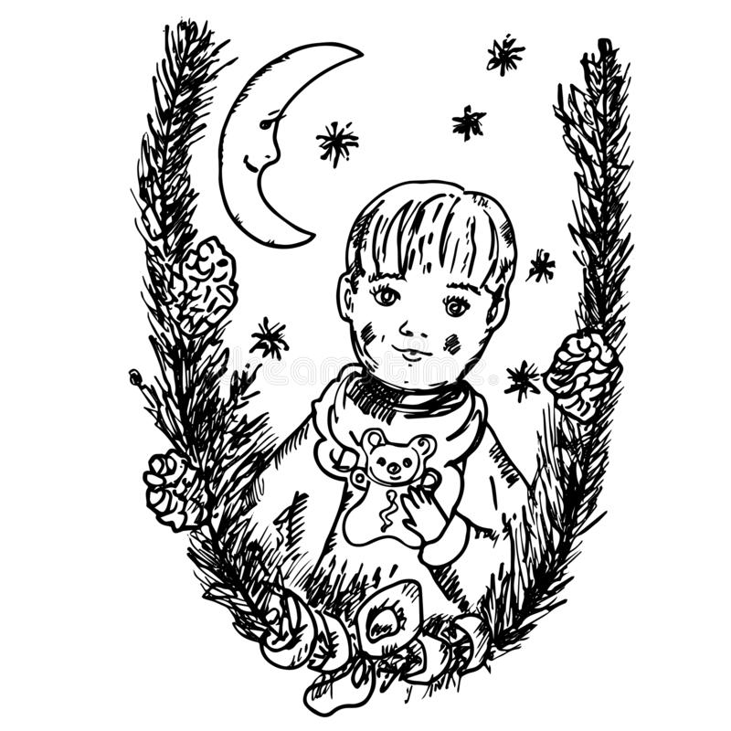 Lovely Christmas card with fir tree branches, moon and little boy with honey-cake as funny bear royalty free illustration