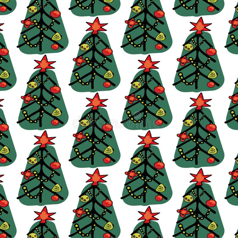 Lovely Christmas and New Year concept seamless pattern for winter holidays ornaments in bright colors. Stylish winter stock images