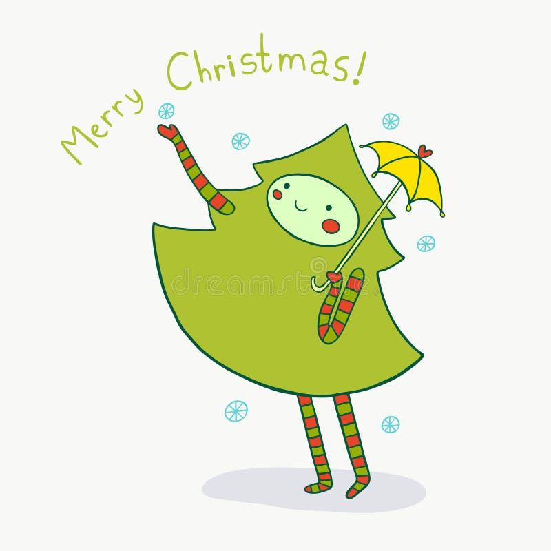 Lovely Christmas Tree Enjoys Winter Snow. Cute holiday illustration vector illustration