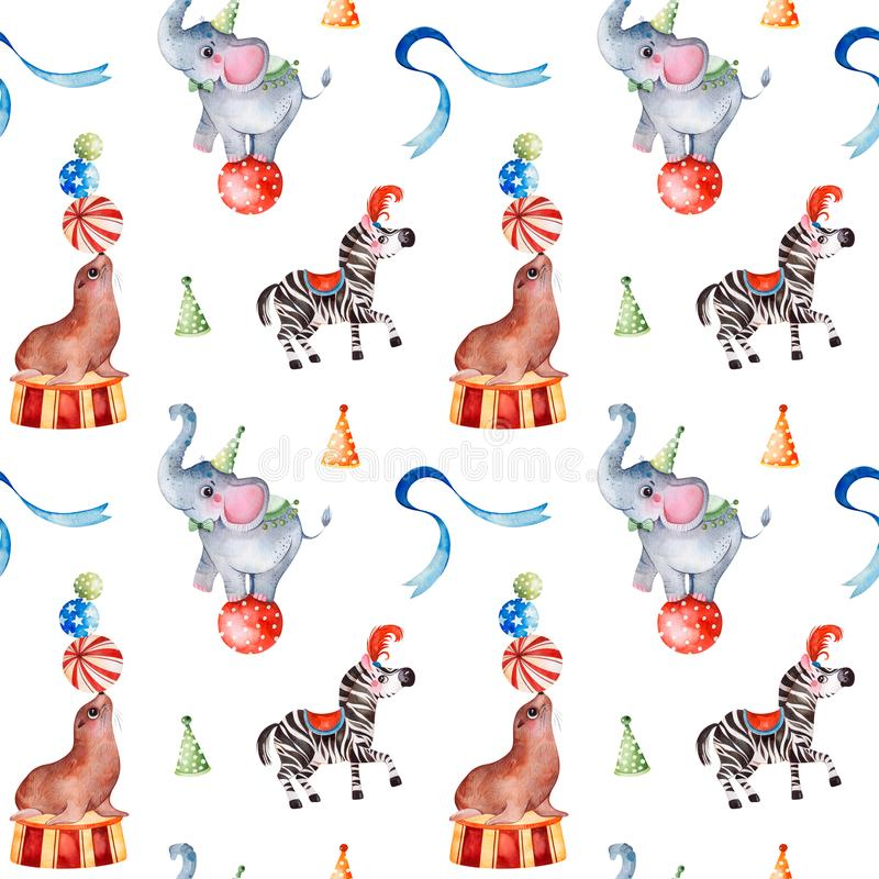 Seamless Texture with cute little elephant on the ball,zebra,fur seal,ribbon. Lovely circus pattern.Seamless Texture with cute little elephant on the ball,zebra stock illustration