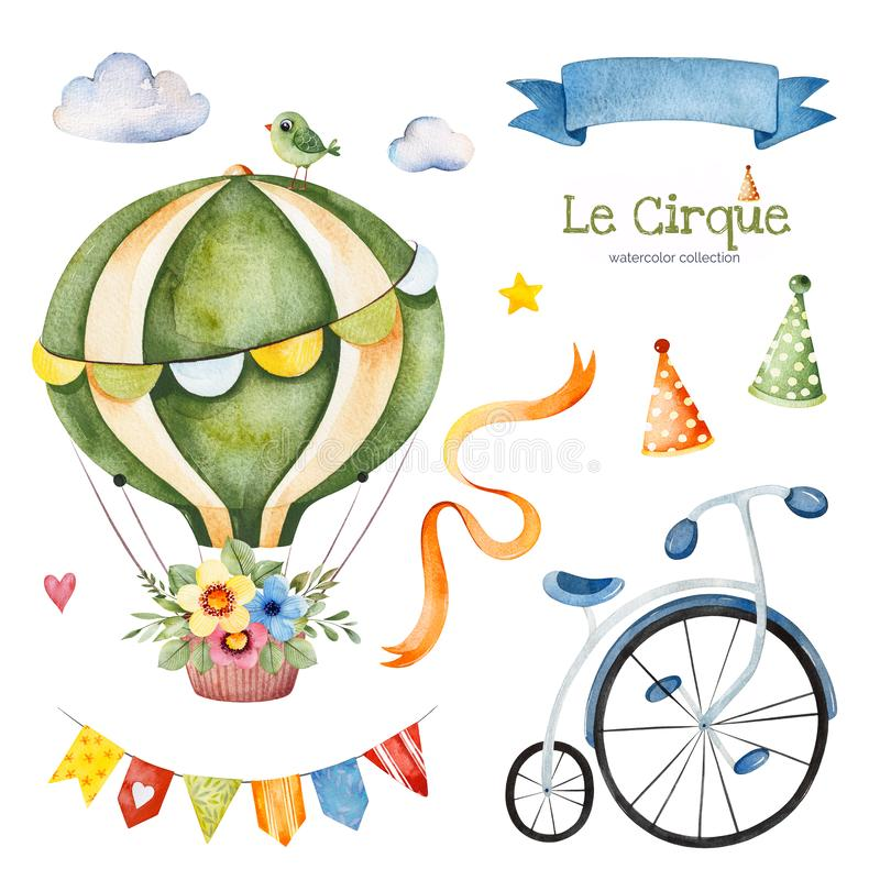 Illustration with colorful air ballon,bike,clouds,garland,ribbon banner,bouquet. Lovely circus set.Illustration with colorful air ballon,bike,clouds,garland vector illustration