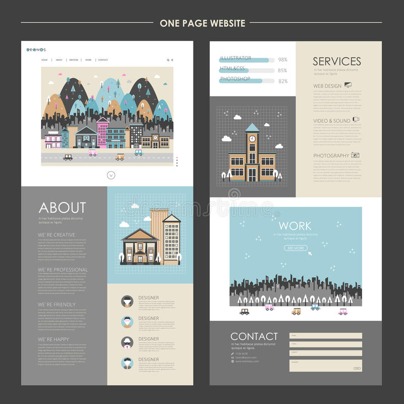 Lovely cityscape one page website design vector illustration