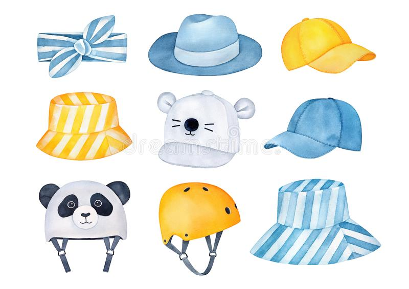Lovely collection of summertime protective headgear and accessories for summer holiday vacations and active outdoor rest. royalty free illustration
