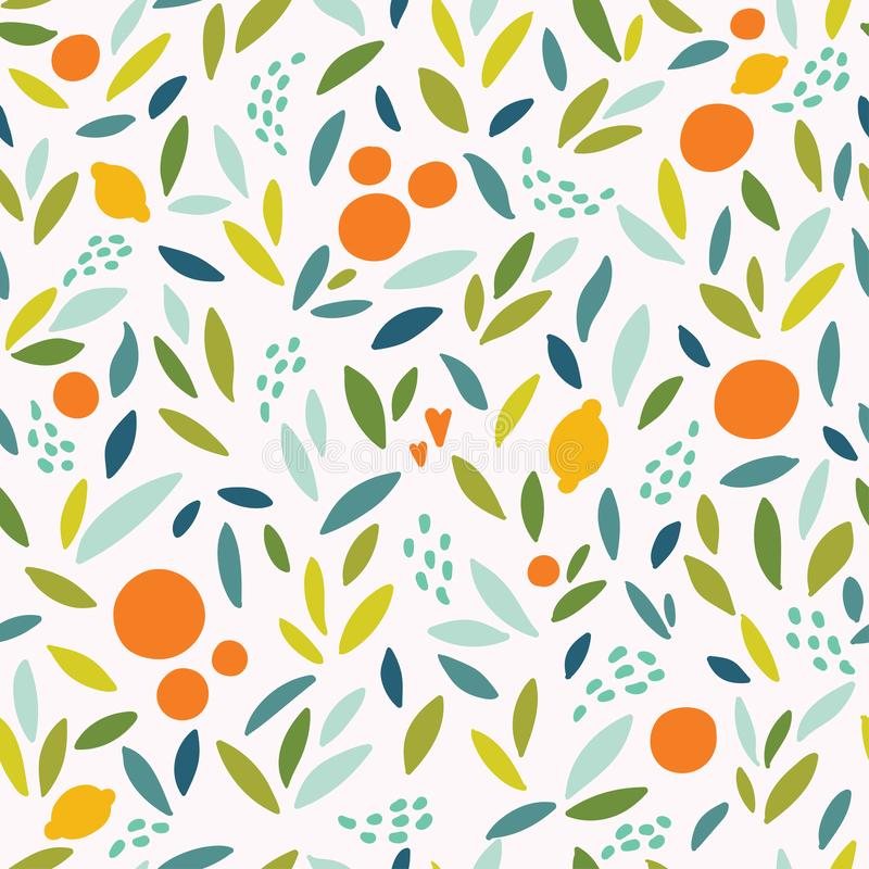 Lovely colorful seamless pattern with cute oranges, lemons and leaves in bright colors. Can be used for wallpapers, web page backgrounds vector illustration