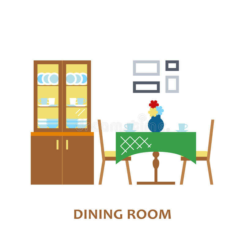 Lovely and colorful vector interior design dining room in trendy flat style. Modern home decoration. Minimalistic vector illustration