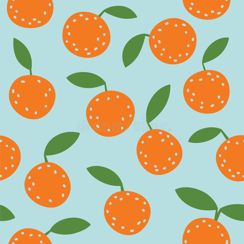 Lovely colorful vector seamless pattern with cute oranges and leafs in bright colors. stock photography