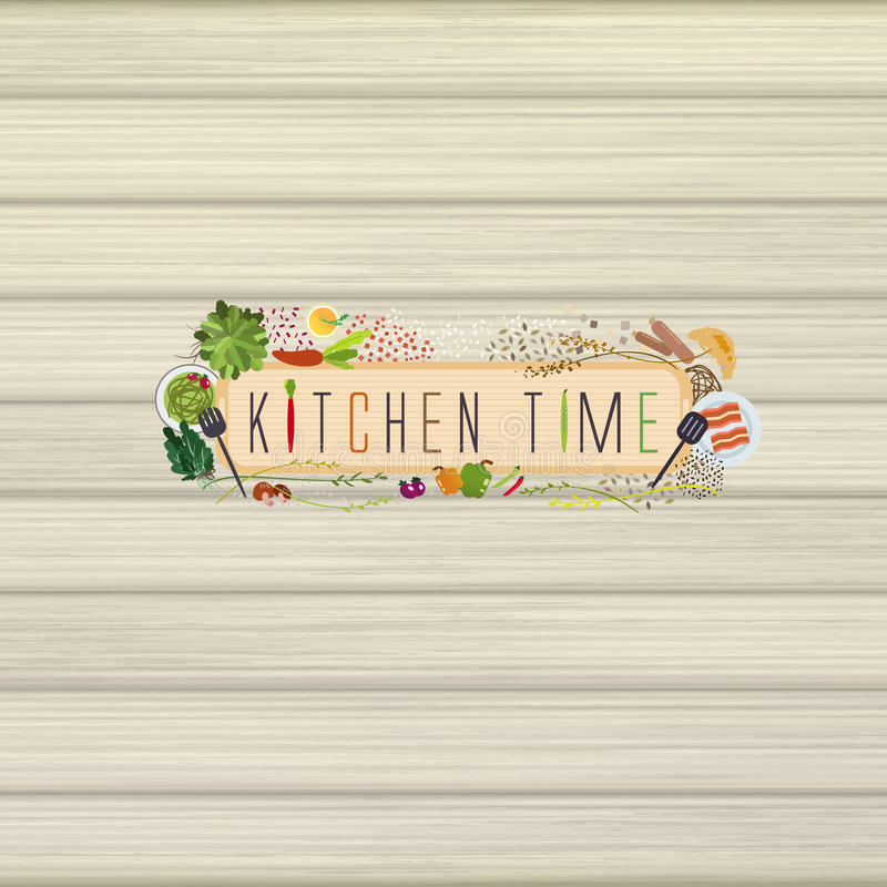 Lovely cooking materials in flat design style. Over wooden wall royalty free illustration