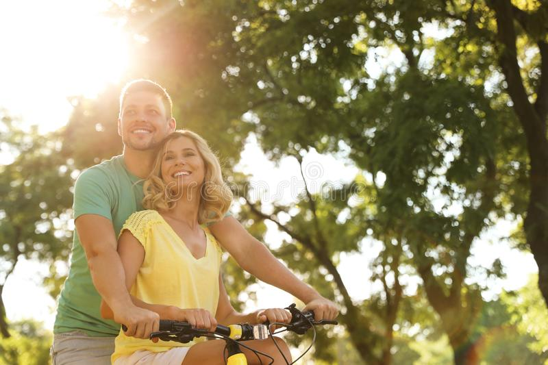 Lovely couple with bicycle in park royalty free stock photo