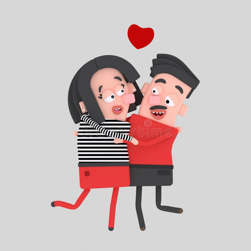 Lovely couple embracing and kissing. 3D. Isolate. Easy background remove. Easy color change. Easy combine stock illustration