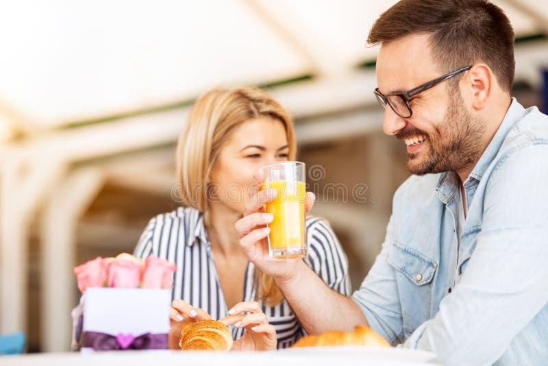 Lovely couple enjoy in breakfast royalty free stock photos
