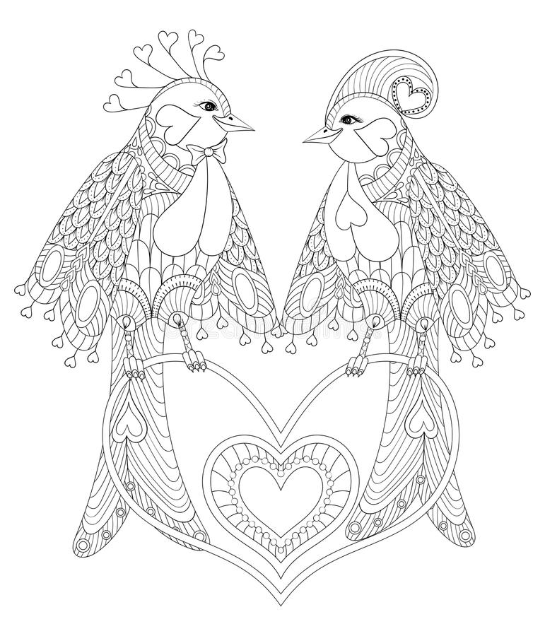 Lovely couple of exotic bird sitting on heart for adult anti stress coloring page, St Valentine day greeting card, art royalty free illustration