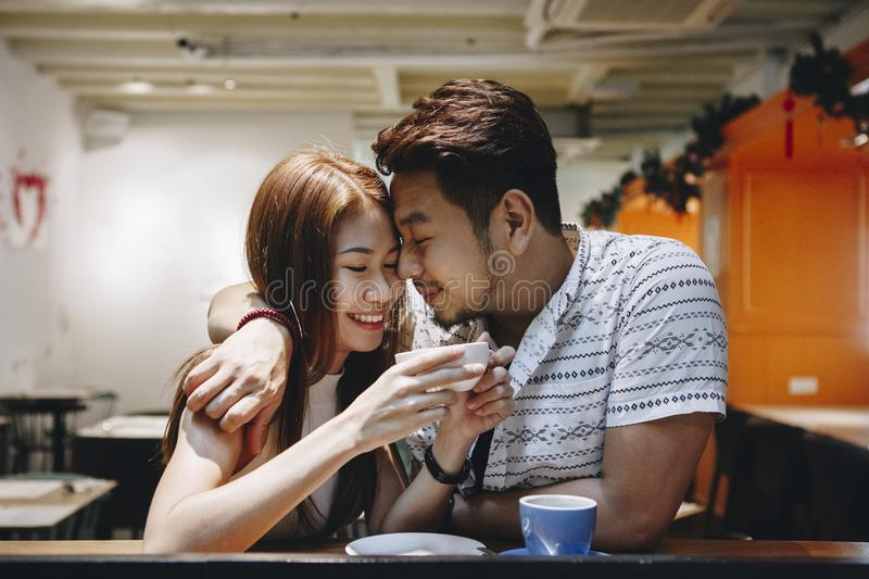 Lovely couple having a good time together stock photos
