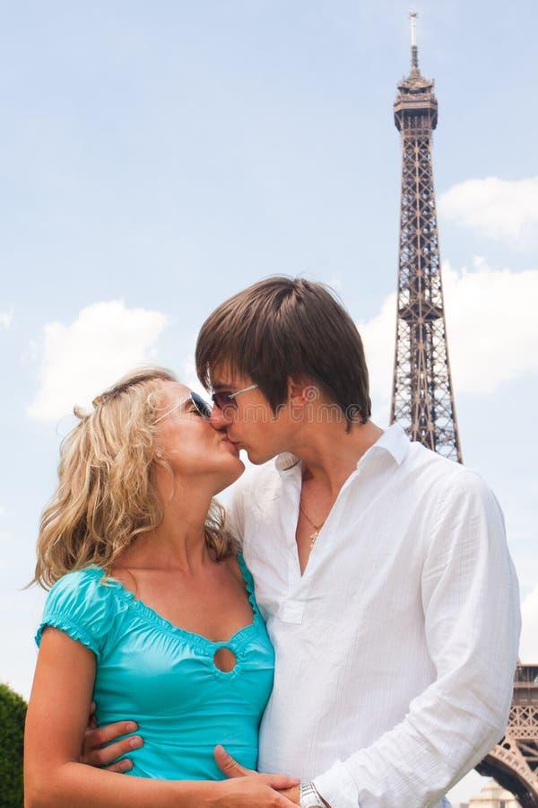 Lovely couple in Paris stock photos