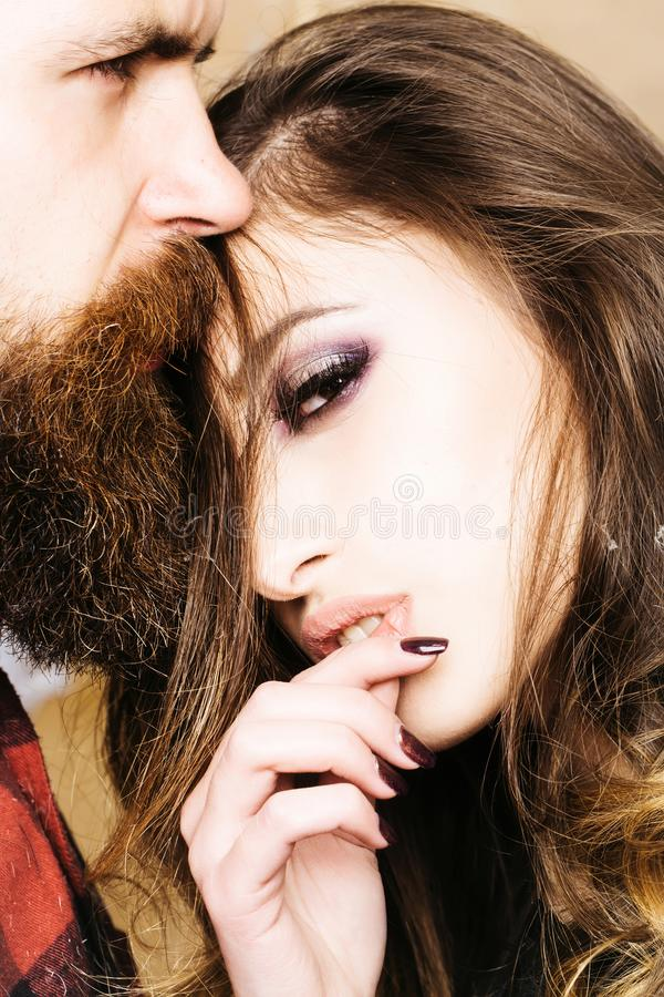 Lovely couple in tender passion. Beautiful woman touching man. Beauty girl and boy together stock image