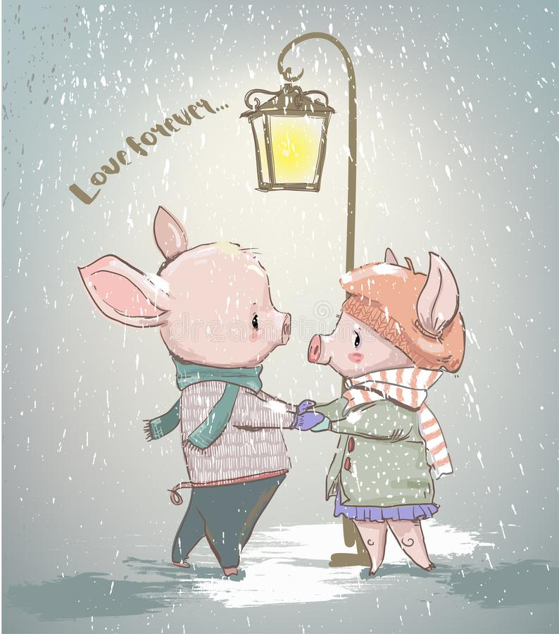 Lovely couple of winter pigs. Vector card stock illustration