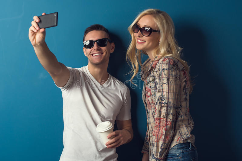 Lovely Couple young man and woman girl in stock image
