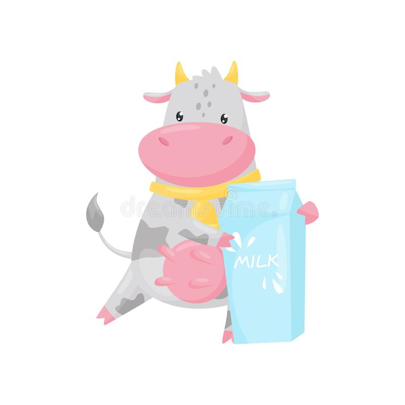 Lovely cow with paper box of milk, funny farm animal cartoon character standing and holding milk packaging vector vector illustration
