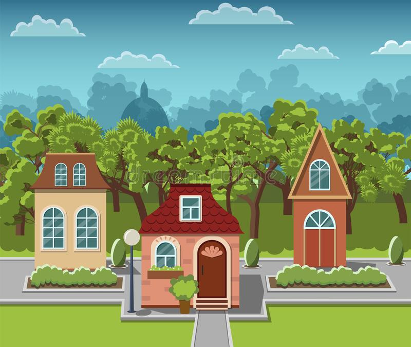 Lovely cozy houses in a fairy-tale town. royalty free illustration
