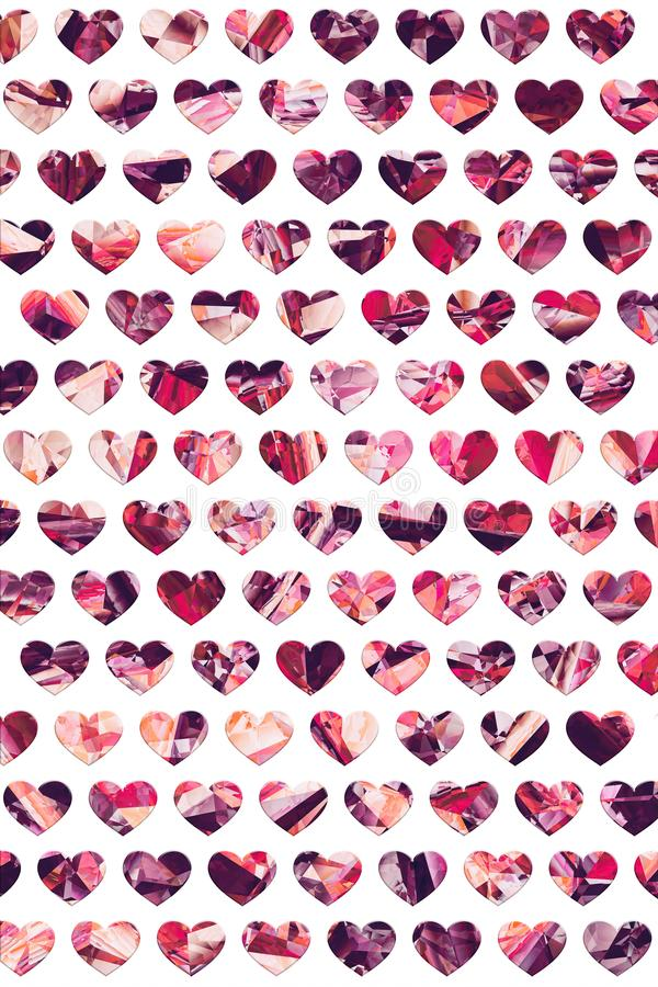 Lovely crystal hearts pattern design stock images