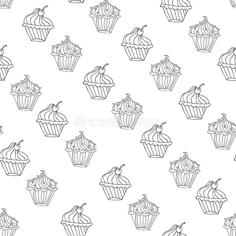 Lovely cupcake dessert seamless background vector design. Illustration vector illustration