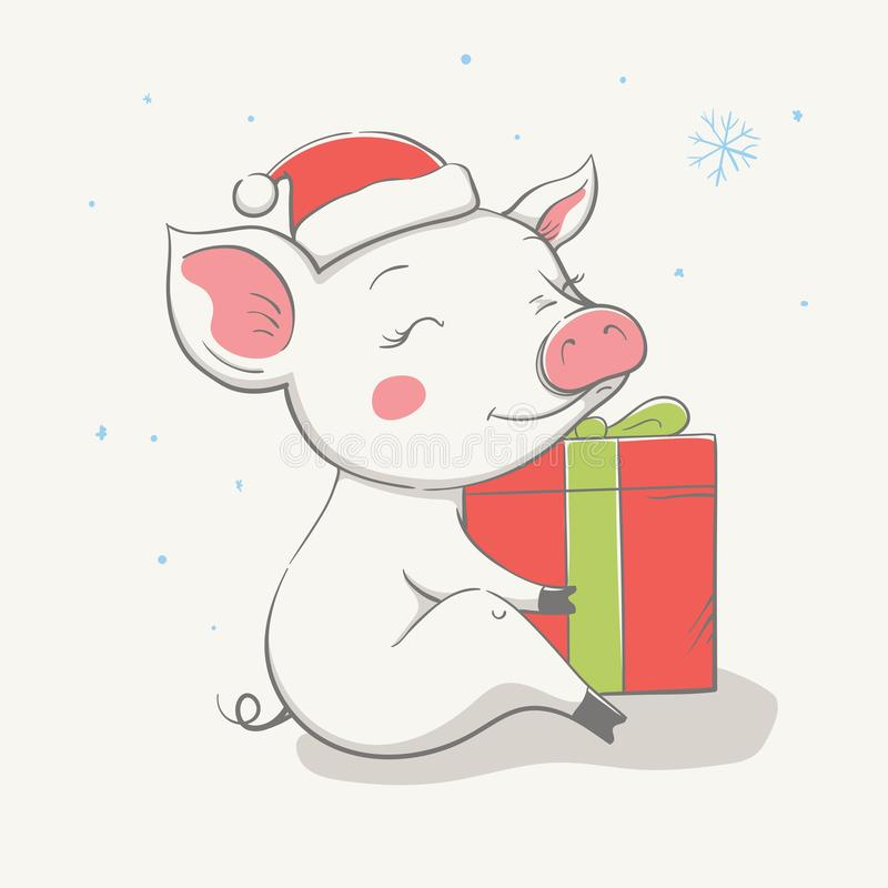 Lovely cute cheerful piggy sits in a red Christmas hat with a gift. Card with cartoon animal. Easy vector illustration stock illustration