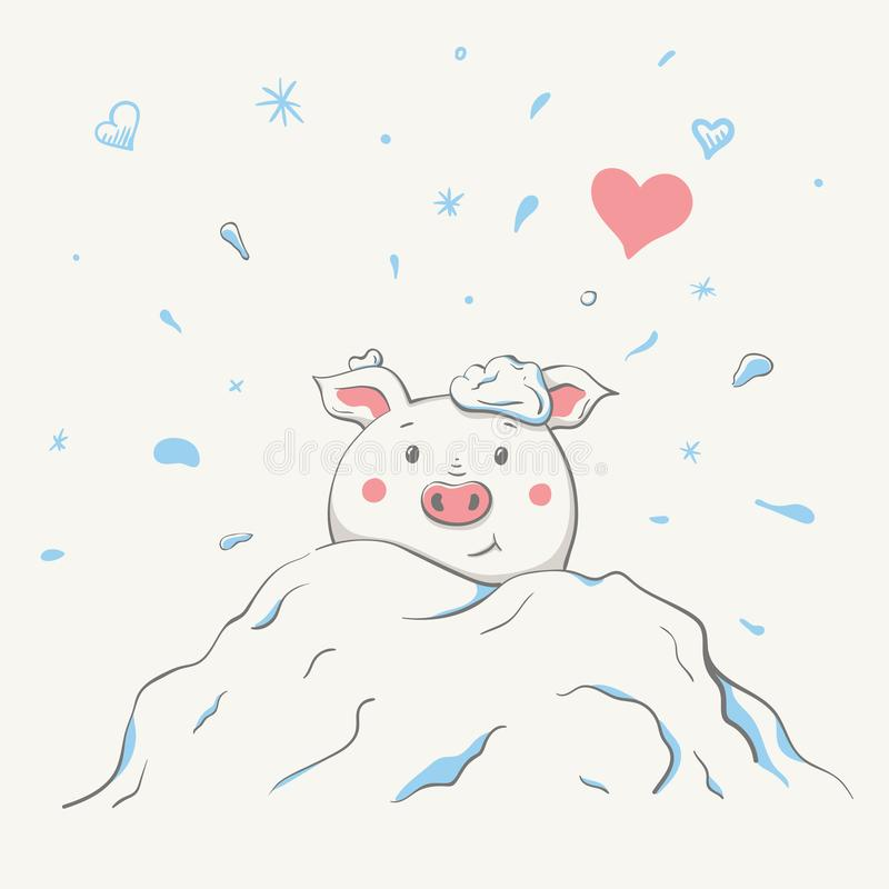 Lovely cute cheerful piggy is sitting in a snowdrift covered in snow. Valentine card with symbol of the year - a pig. Card with cartoon animal. Easy vector stock illustration