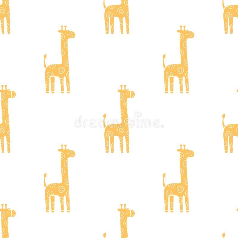 Lovely cute childish seamless vector pattern with kawaii giraffes stock illustration