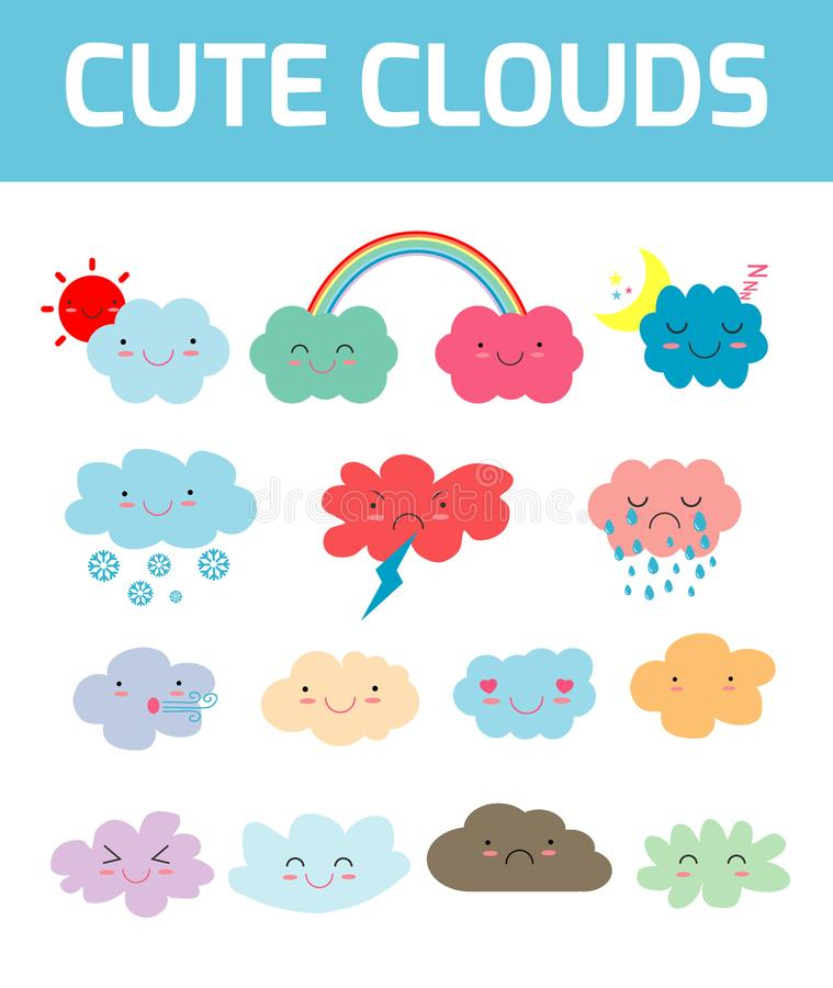 Lovely cute clouds icons, Set of Emoticons, Funny happy smiley clouds, Emoji. Smile icons. Isolated vector illustration. Lovely cute clouds icons, Set of stock illustration