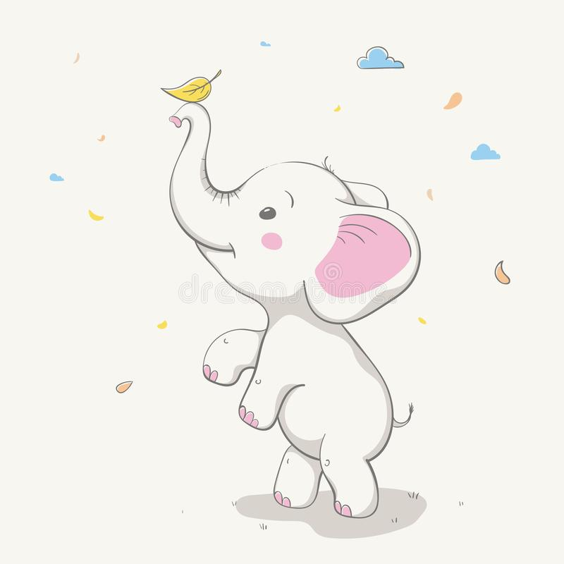 Lovely cute elephant playing with yellow leaf. Card with cartoon animal. stock illustration