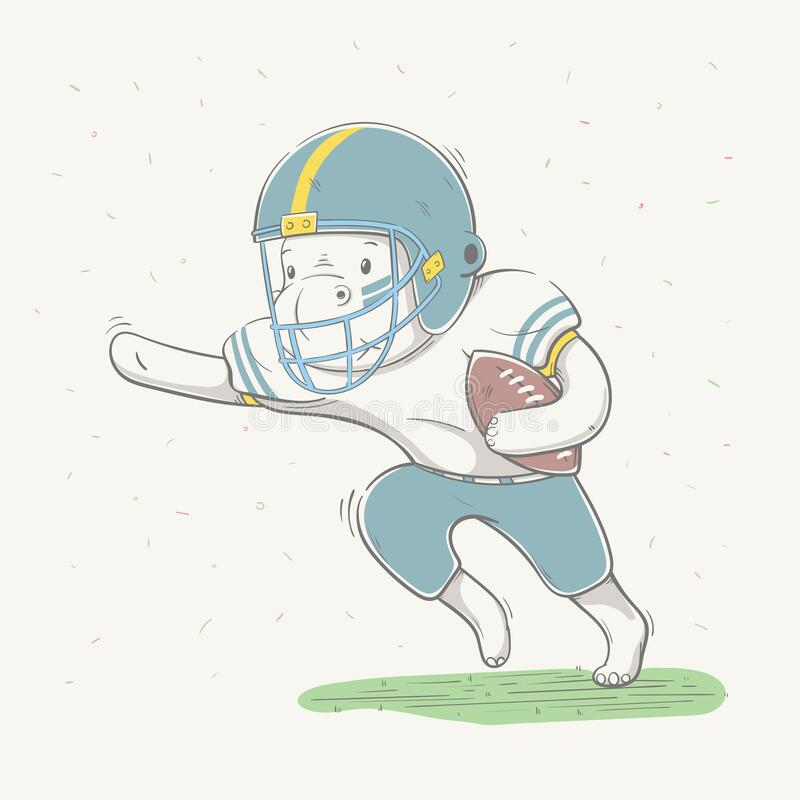 Free Lovely Cute Hippo Dressed Like American Football Player With Ball In Field. Young Dressed Hippopotamus Royalty Free Stock Images - 186924579