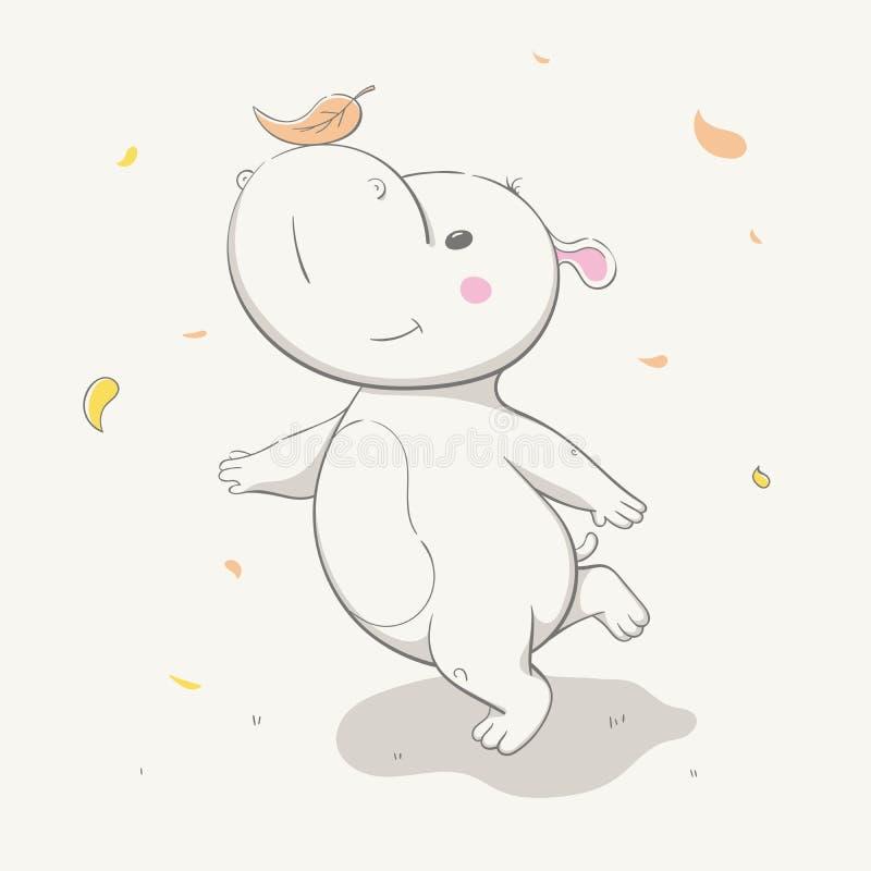 Lovely cute hippo runs with a leaf on the nose. Autumn cartoon animal. vector illustration