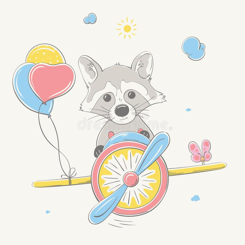 Lovely cute raccoon flies by the colored plane with balloons. Summer series of children`s card royalty free illustration