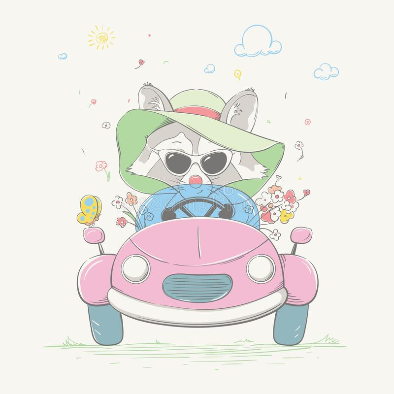 Lovely cute raccoon girl is driving the car. Young racer in the summer hat and the glasses with the color flowers royalty free illustration