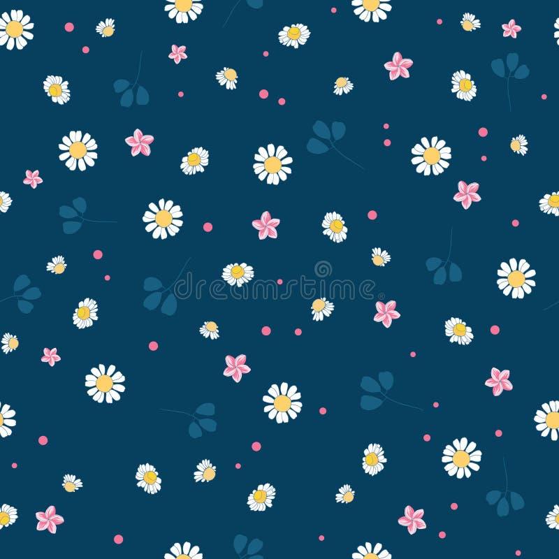 Lovely daisies ditsy seamless pattern design stock illustration