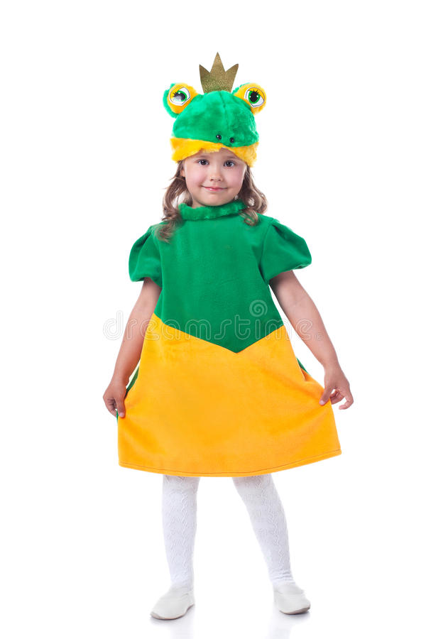 Lovely dark-haired girl posing in frog costume royalty free stock images
